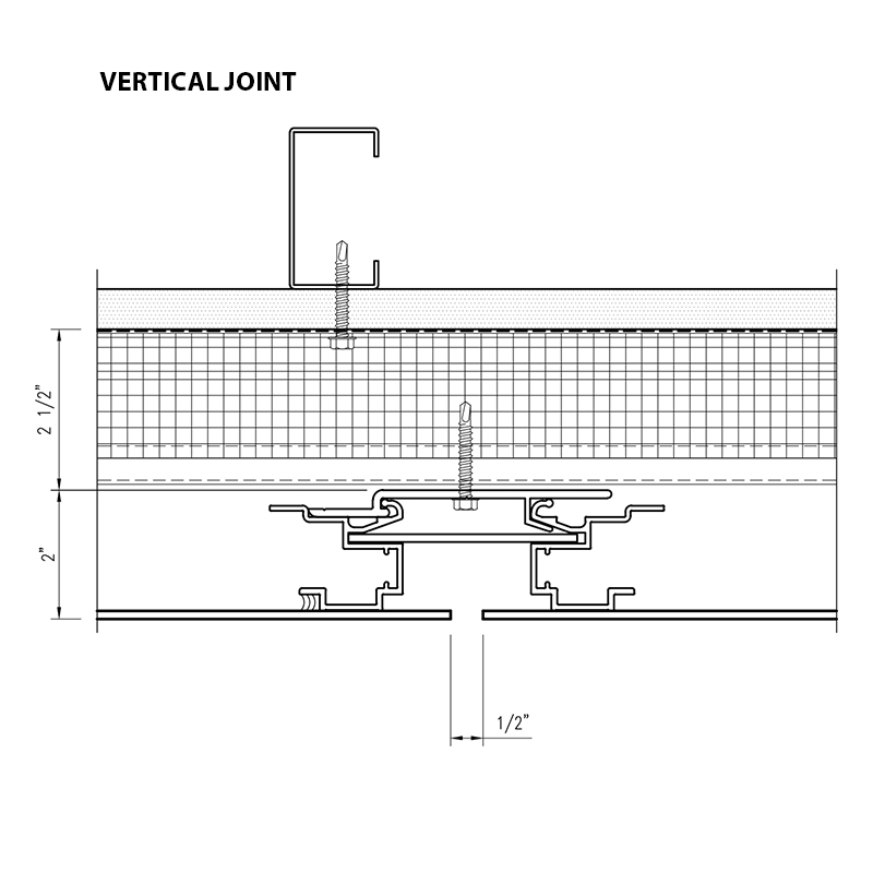 Arcwall floating metal panel vertical joint