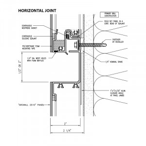 Omniplate 2510 economical barrier wall system horizontal joint