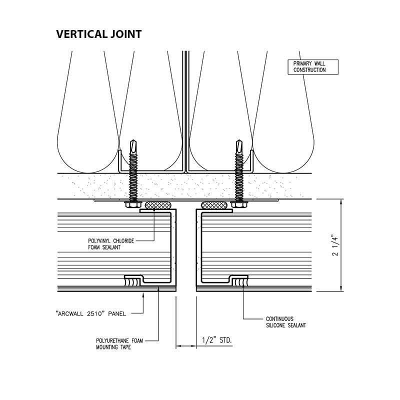 Omniplate 2510 economical barrier wall system vertical joint