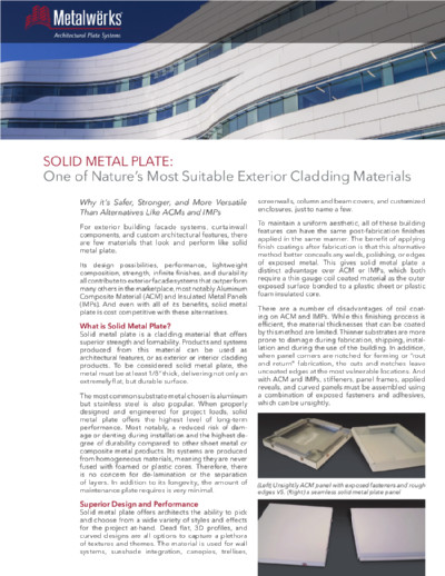 Solid Metal Plate: One of Nature's Most Suitable Exterior